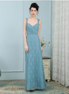 A-Line Straps Floor Length Turquoise Lace Bridesmaid Dress