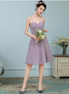 A-Line Spaghetti Straps Knee Length Purple Lace Bridesmaid Dress