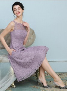 A-Line Round Neck Knee Length Purple Lace Bridesmaid Dress