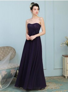A-Line Strapless Grape Chiffon Bridesmaid Dress with Bowknot