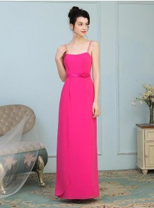 A-Line Spaghetti Straps Fuchsia Chiffon Bridesmaid Dress with Sash