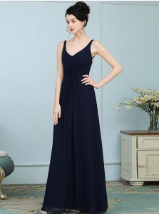 A-Line Scoop Navy Blue Chiffon Bridesmaid Dress