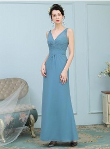A-Line V-Neck Ruched Turquoise Chiffon Bridesmaid Dress