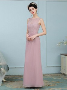 A-Line Round Neck Blush Chiffon Bridesmaid Dress with Lace