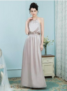 A-Line Halter Champagne Elastic Satin Bridesmaid Dress with Sash