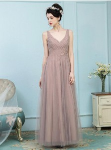 A-Line V-Neck Pleated Blush Tulle Bridesmaid Dress with Appliques