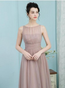 A-Line Bateau Pleated Blush Tulle Bridesmaid Dress