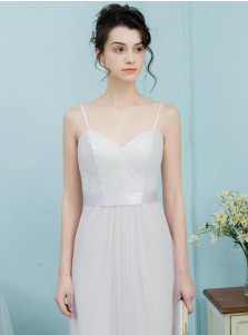 A-Line Spaghetti Straps Pearl Pink Tulle Bridesmaid Dress with Lace