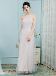 A-Line Spaghetti Straps Pleated Pink Tulle Bridesmaid Dress