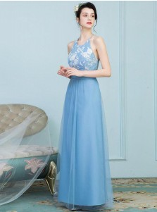 A-Line Round Neck Criss Cross Blue Tulle Bridesmaid Dress with Lace