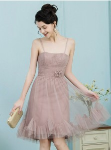 A-Line Spaghetti Straps Blush Tulle Bridesmaid Dress with Flower