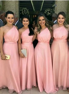 A-Line One-Shoulder Floor Length Pink Chiffon Bridesmaid Dress