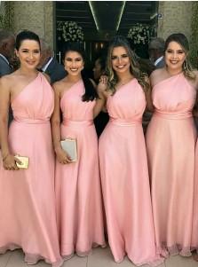 A-Line One-Shoulder Floor Length Pink Chiffon Bridesmaid Dress