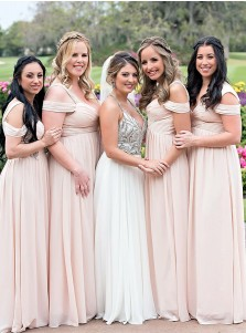 A-Line Cold Shoulder Pink Chiffon Bridesmaid Dress with Pleats