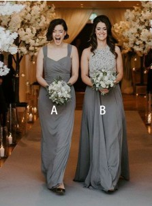 A-Line Square Neck Sleeveless Grey Chiffon Bridesmaid Dress