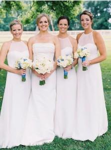 A-Line Halter Floor Length White Chiffon Bridesmaid Dress