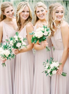 A-Line V-Neck Blush Chiffon Bridesmaid Dress with Reuffles
