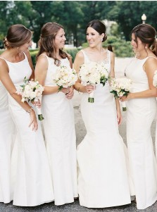 Sheath Round Neck Sleeveless White Satin Bridesmaid Dress