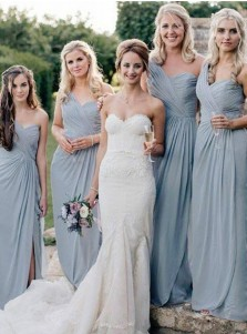 A-Line One-Shoulder Grey Chiffon Bridesmaid Dress with Split