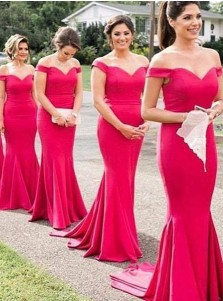 Mermaid Off-the-Shoulder Red Satin Bridesmaid Dress