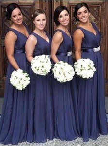 A-Line V-Neck Blue Chiffon Bridesmaid Dress with Sash