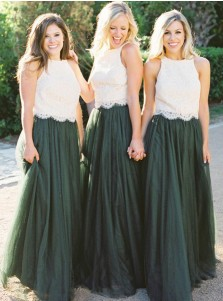 Two Piece Round Neck Dark Green Tulle Bridesmaid Dress with Lace