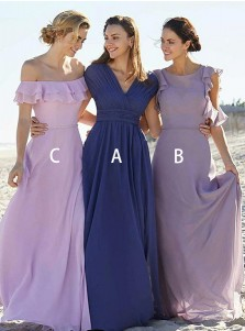 A-Line V-Neck Blue Chiffon Bridesmaid Dress with Pleats