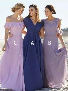 A-Line V-Neck Blue Chiffon Bridesmaid Dress with Pleats