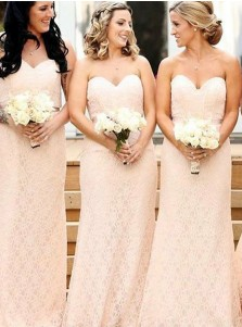 Sheath Sweetheart Pink Lace Bridesmaid Dress with Sash