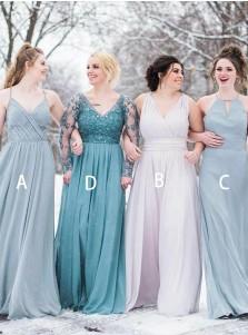 A-Line Spaghetti Straps Pleated Chiffon Bridesmaid Dress