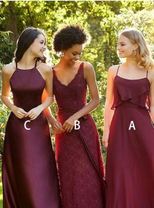 A-Line Spaghetti Straps Dark Red Chiffon Bridesmaid Dress with Ruffles