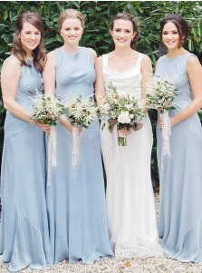 A-Line Round Neck Sleeveless Light Blue Satin Bridesmaid Dress