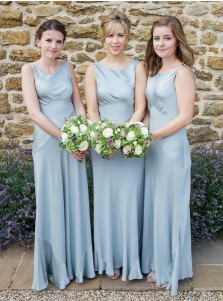 A-Line Round Neck Sleeveless Light Blue Satin Bridesmaid Dress