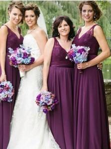 A-Line V-Neck Grape Chiffon Bridesmaid Dress with Lace