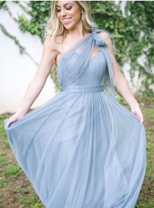 2bef29f8e05 A-Line One-Shoulder Pleated Blue Tulle Bridesmaid Dress