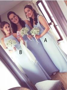 Sheath Scoop Sleeveless Light Blue Chiffon Bridemaid Dress