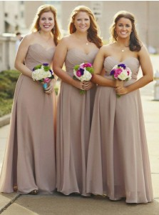 A-Line Sweetheart Grey Chiffon Bridesmaid Dress with Pleats
