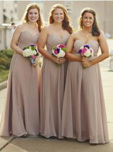 A-Line Sweetheart Grey Chiffon Bridesmaid Dress with Pleats