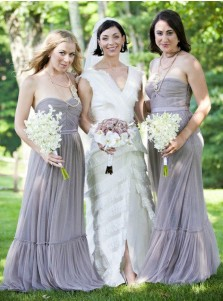 A-Line Strapless Sweep Train Pleated Grey Tulle Bridesmaid Dress