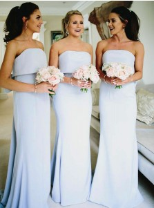 Mermaid Strapless Light Blue Chiffon Bridesmaid Dress with Bowknot