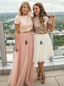 Two Piece Round Neck Rose Gold Tulle Bridesmaid Dress