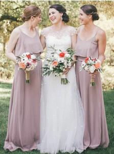 A-Line Scoop Blush Chiffon Bridesmaid Dress with Ruffles