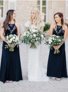 A-Line Square Navy Blue Chiffon Bridesmaid Dress with Lace