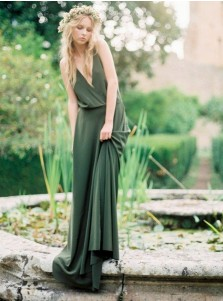 A-Line Deep V-Neck Sweep Train Green Chiffon Bridesmaid Dress