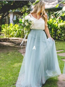 Two Piece Scoop Sweep Train Light Blue Tulle Bridesmaid Dress
