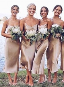 Sheath Spaghetti Straps Champagne Satin Bridesmaid Dress