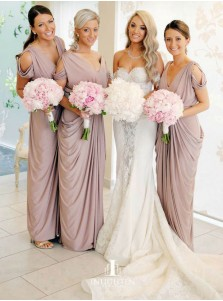 Sheath V-Neck Cold Shoulder Ruched Purple Satin Bridesmaid Dress