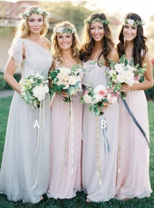 A-Line One Shoulder Light Grey Chiffon Bridesmaid Dress