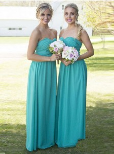 A-Line Strapless Turquoise Chiffon Bridesmaid Dress with Beading