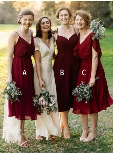 A-Line V-Neck Pleated Dark Red Chiffon Bridesmaid Dress